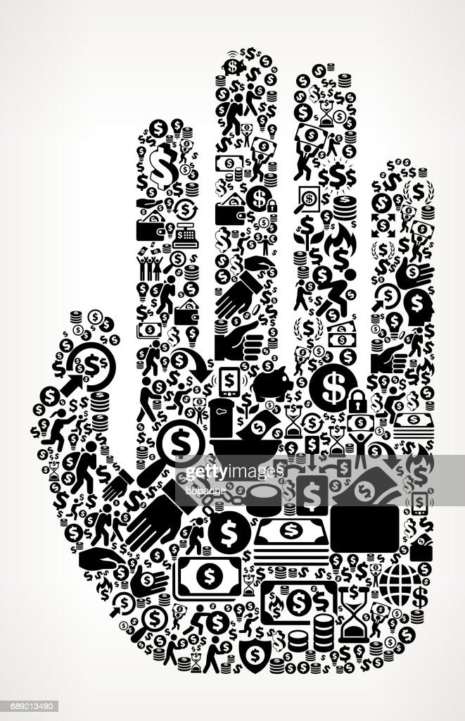 Hand Money and Finance Black and White Icon Background : Stock Illustration