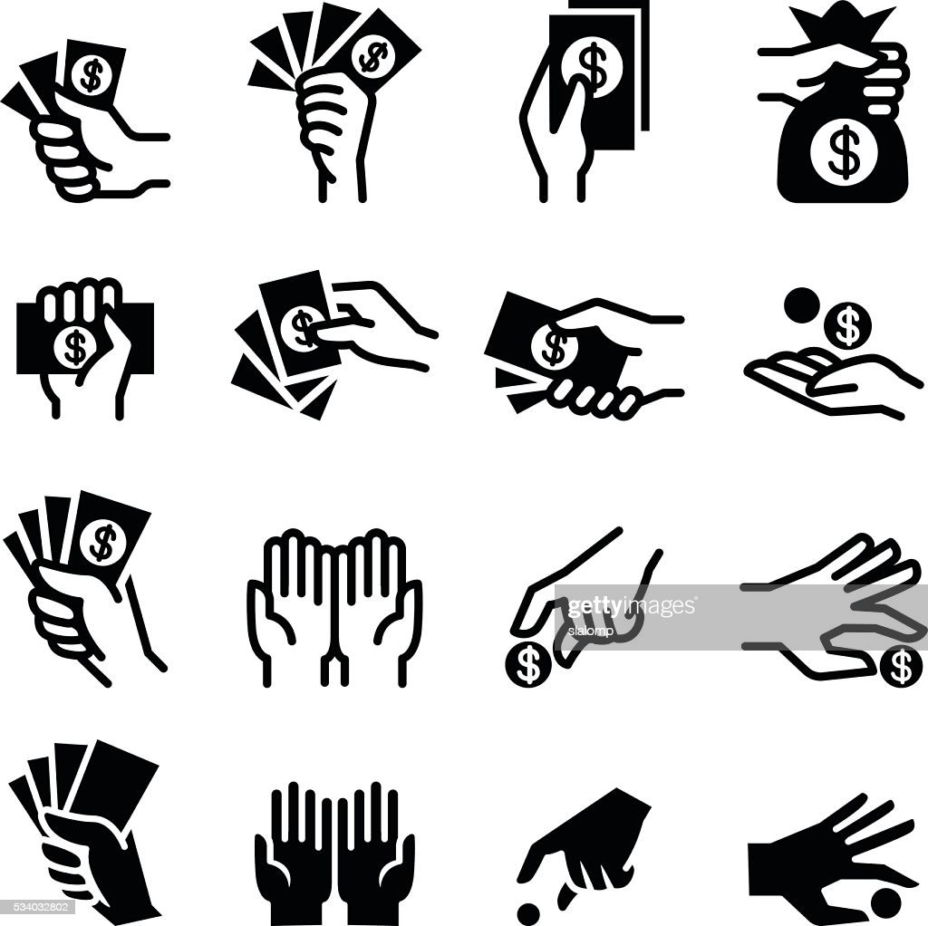 Hand & money icon