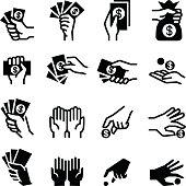 Hand & money icon