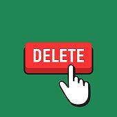 Hand Mouse Cursor Clicks the Delete Button.