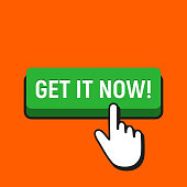 Hand Mouse Cursor Clicks the Get It Now Button.