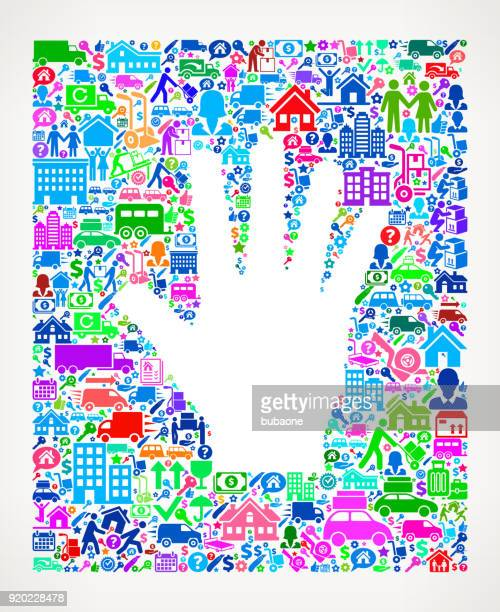 Hand Moving and Relocation Vector Icon Pattern