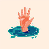 hand of drowning man in water asking for help - vector