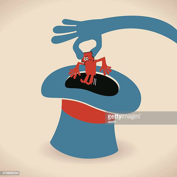 hand of magician pulling businessman out of top hat trick - flaccid stock illustrations, clip art, cartoons, & icons