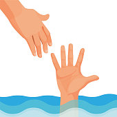 Hand of person who drowns stick out of water