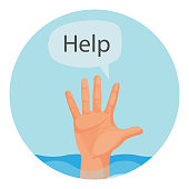 Hand of person who drowns with sign help