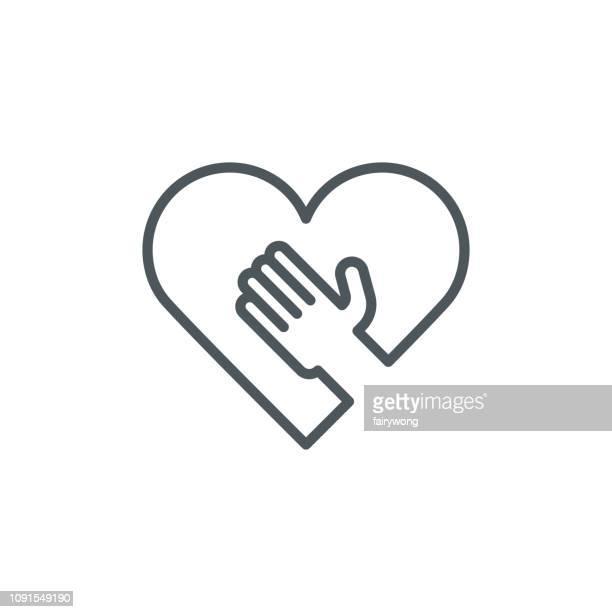 hand on heart icon - myocardium stock illustrations, clip art, cartoons, & icons