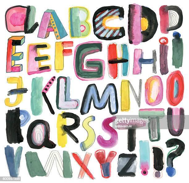 ilustrações de stock, clip art, desenhos animados e ícones de hand painted alphabet isolated on white - letraj