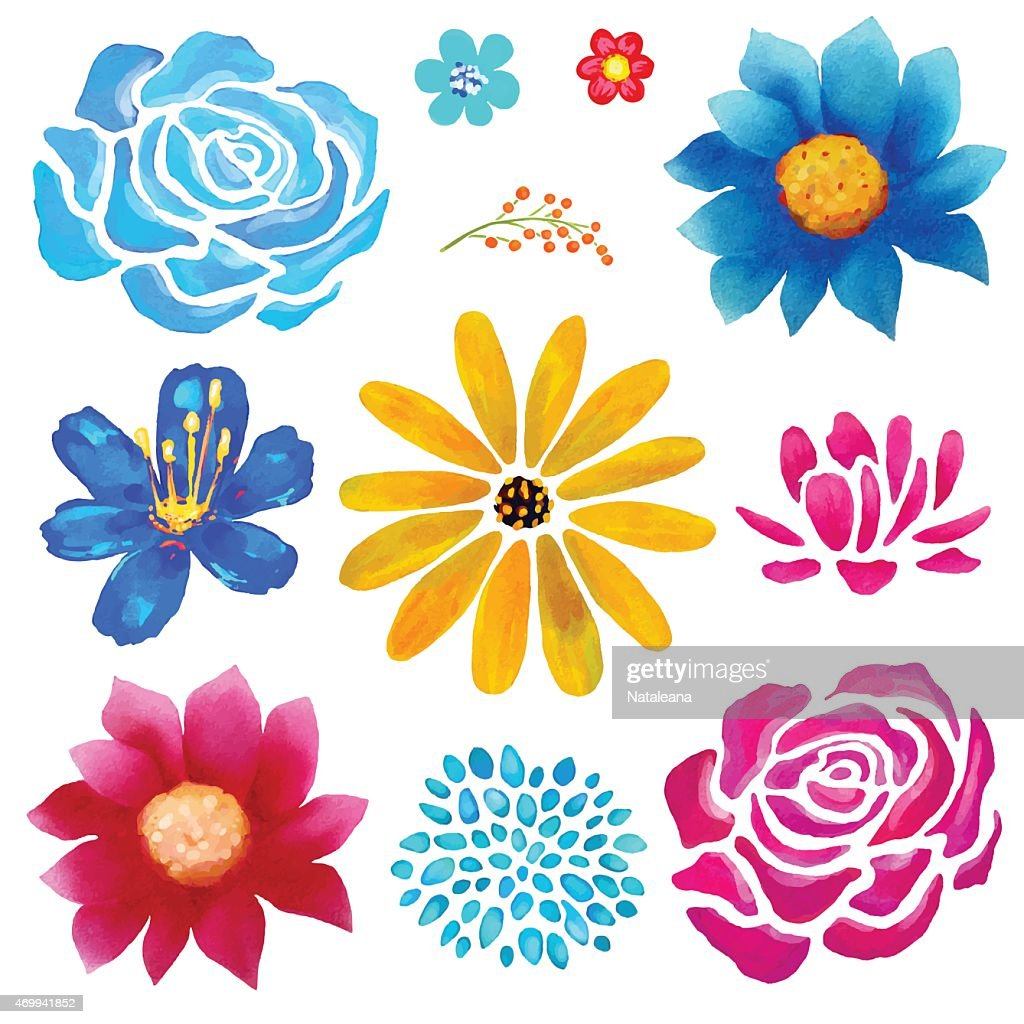 Hand painted flowersl watercolor set