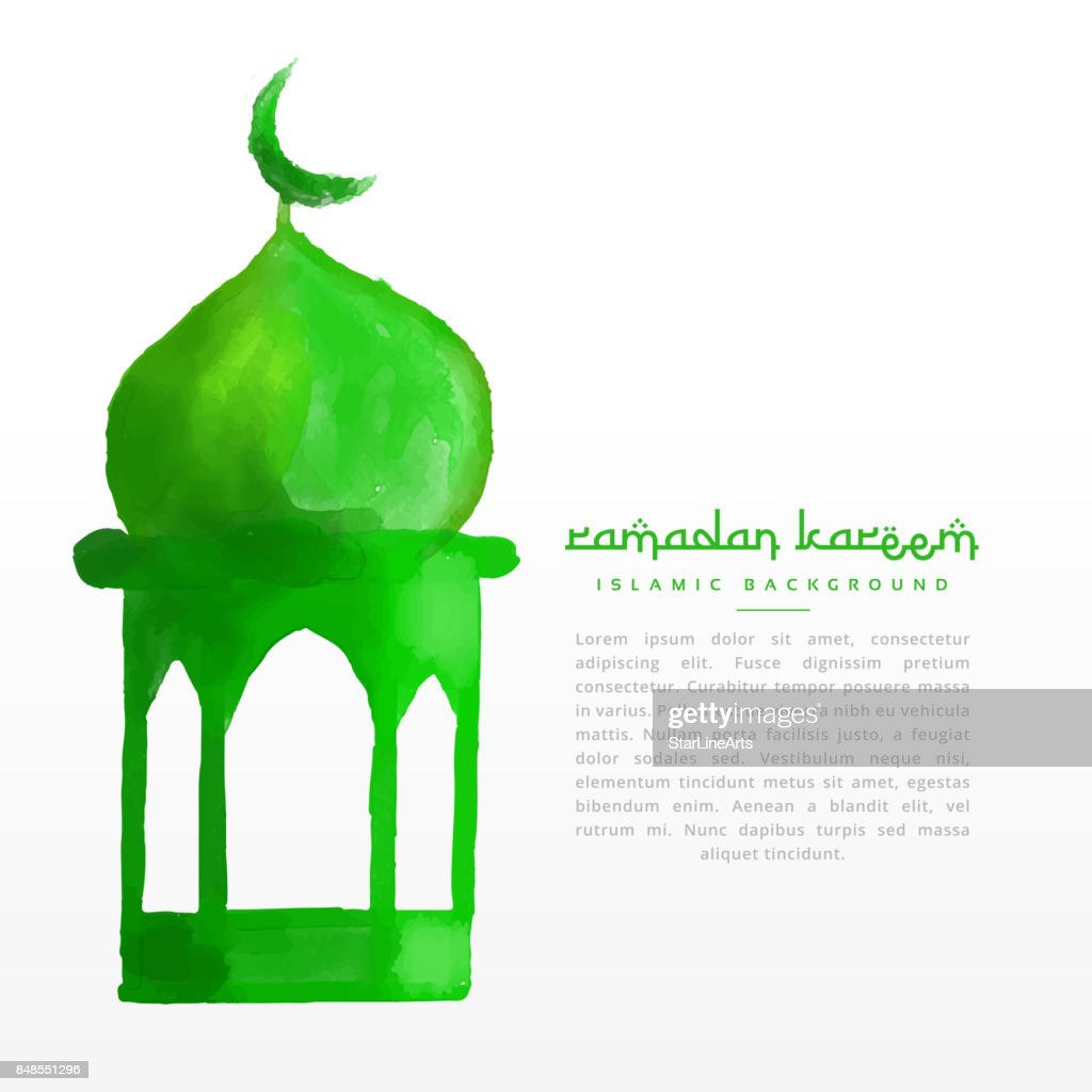 hand painted green mosque design