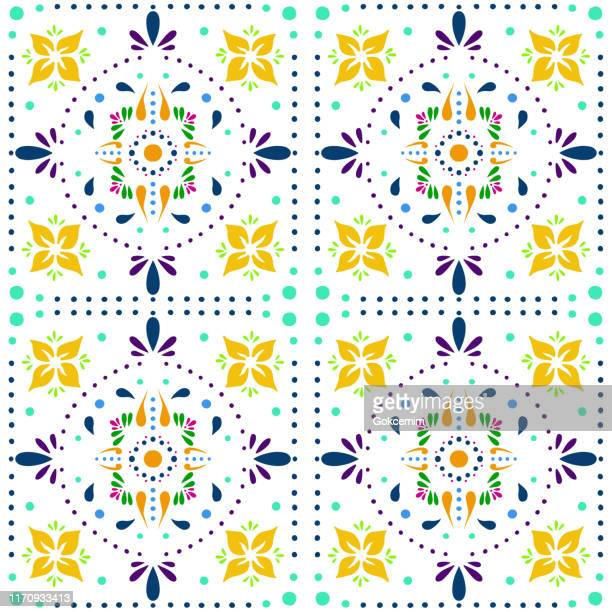 hand painted multi colored bohemian tile. vector tile pattern, lisbon arabic floral mosaic, mediterranean seamless ornament, geometric folklore ornament. tribal ethnic vector texture. - tradition stock illustrations