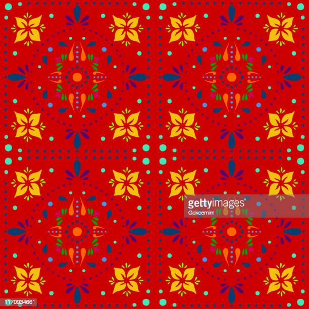 hand painted multi colored bohemian tile. vector tile pattern, lisbon arabic floral mosaic, mediterranean seamless ornament, geometric folklore ornament. tribal ethnic vector texture. - mexican culture stock illustrations