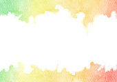 Hand painted rainbow watercolor texture frame isolated on white