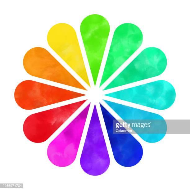 hand bemalt aquarell farbe rad, regenbogen blume isoliert auf weißem hintergrund. hand bemalt aquarell farbe rad, regenbogen blume isoliert auf weißem hintergrund. design-element. - blütenblatt stock-grafiken, -clipart, -cartoons und -symbole
