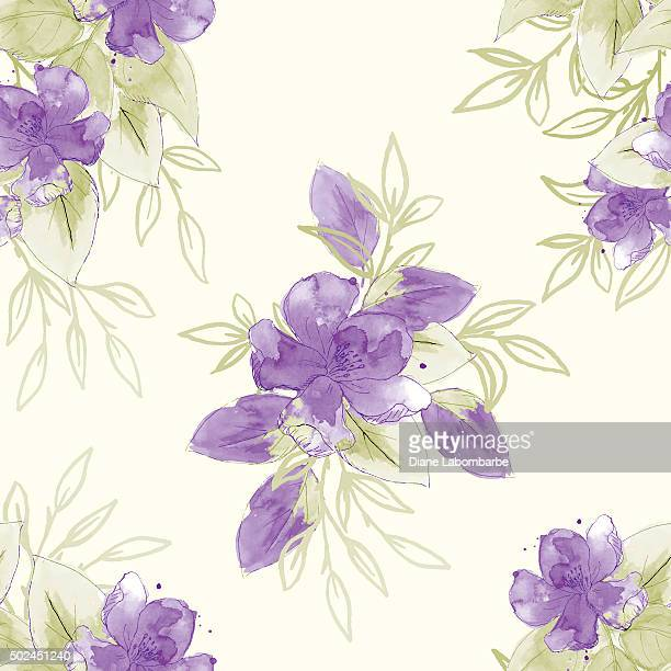 hand painted watercolor flowers seamless pattern - girly wallpapers stock illustrations