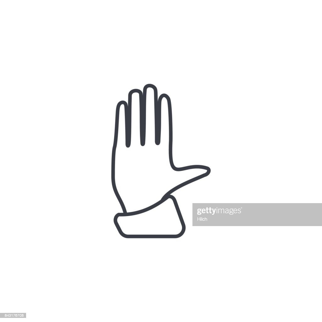 Hand Palm Access Control Stop Thin Line Icon Linear Vector Symbol