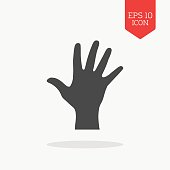 Hand, palm icon. Flat design gray color symbol.