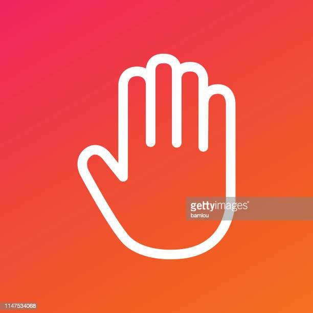 手のひらアイコングラデーションの背景 - ストップ点のイラスト素材/クリップアート素材/マンガ素材/アイコン素材