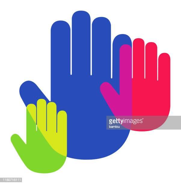 illustrations, cliparts, dessins animés et icônes de paume de main icône chevauchant des couleurs vives - panneau stop