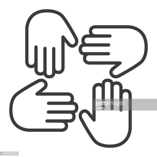 hand palm icon togetherness concept - reaching stock illustrations