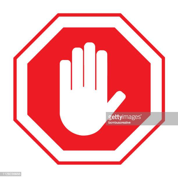 hand palm icon - danger stock illustrations