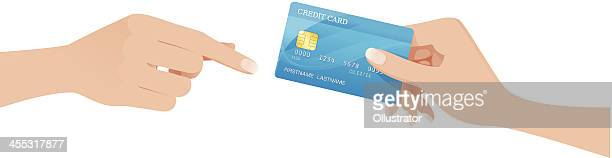 hand passing a creditcard - credit card stock illustrations