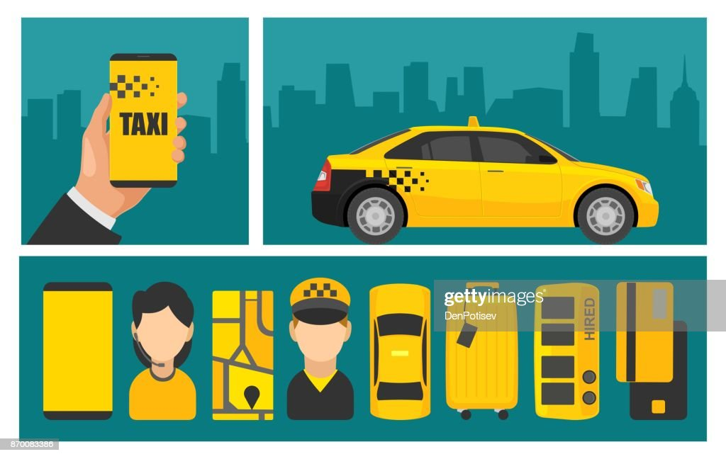 Hand phone with interface taxi on screen background the city.