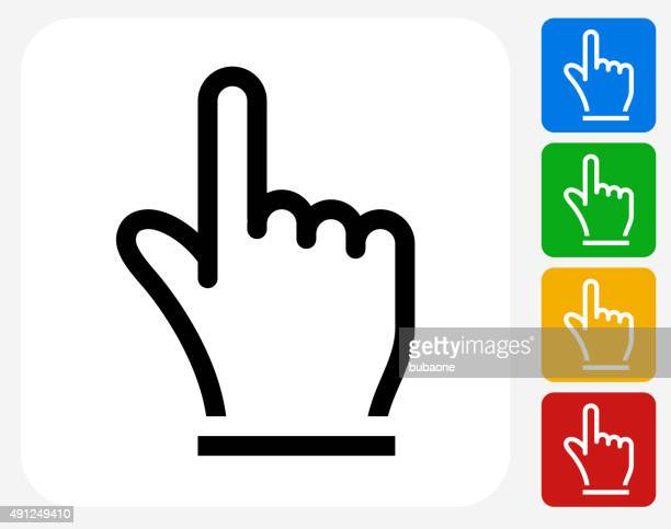 Hand Pointer Icon Flat Graphic Design