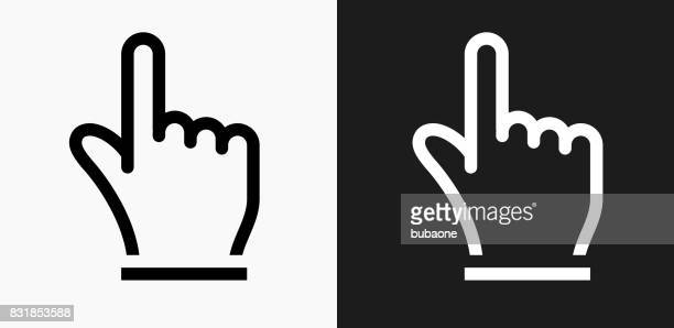 Hand Pointer Icon on Black and White Vector Backgrounds