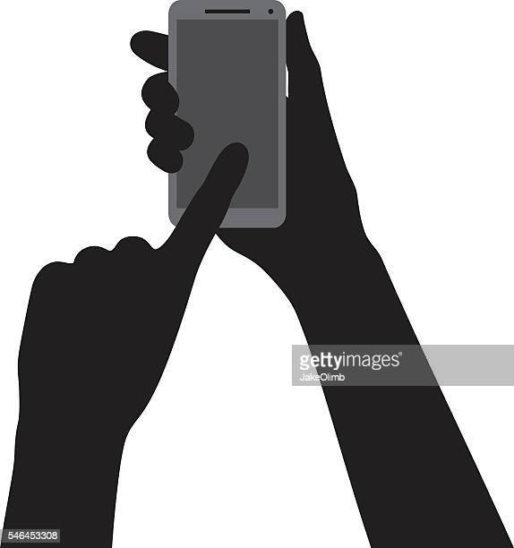 hand pointing at smartphone silhouette - gripping stock illustrations