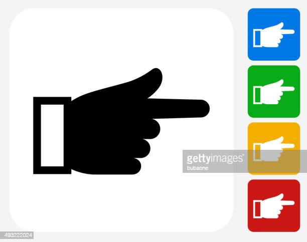 Hand Pointing Icon Flat Graphic Design