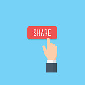 Hand pointing share button. Gesture of finger pressing share button. Social media concept
