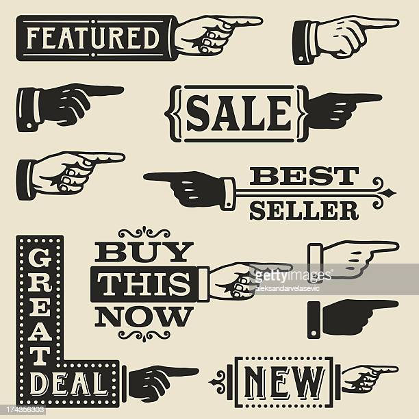 hand pointing signs - retro style stock illustrations