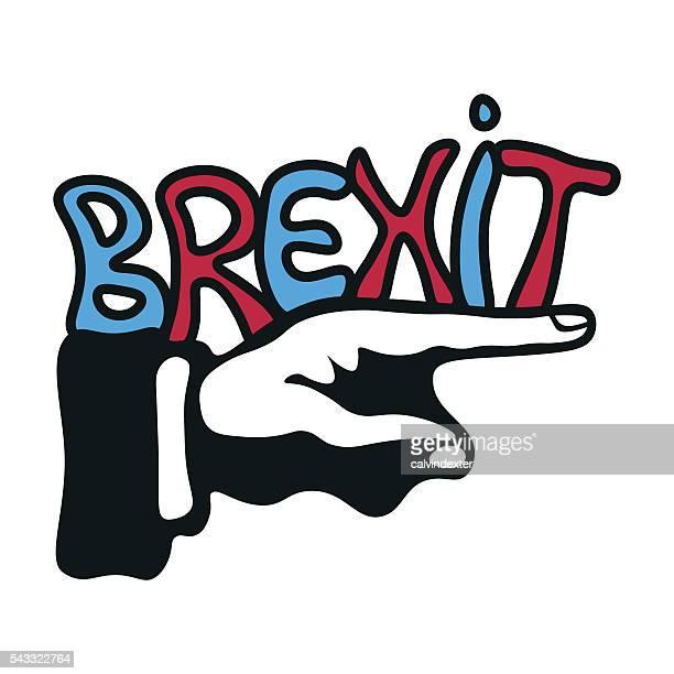 illustrations, cliparts, dessins animés et icônes de main pointant du doigt la direction brexit - brexit