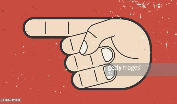 stockillustraties, clipart, cartoons en iconen met hand wijzend - linkshandig