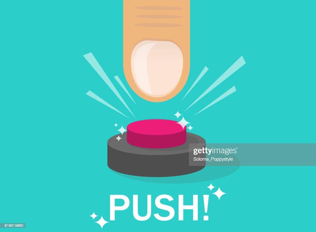 Hand pressing button. Push finger.