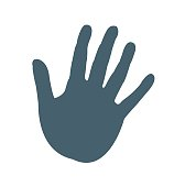 Hand print flat icon isolated on white background. vector illustration icon