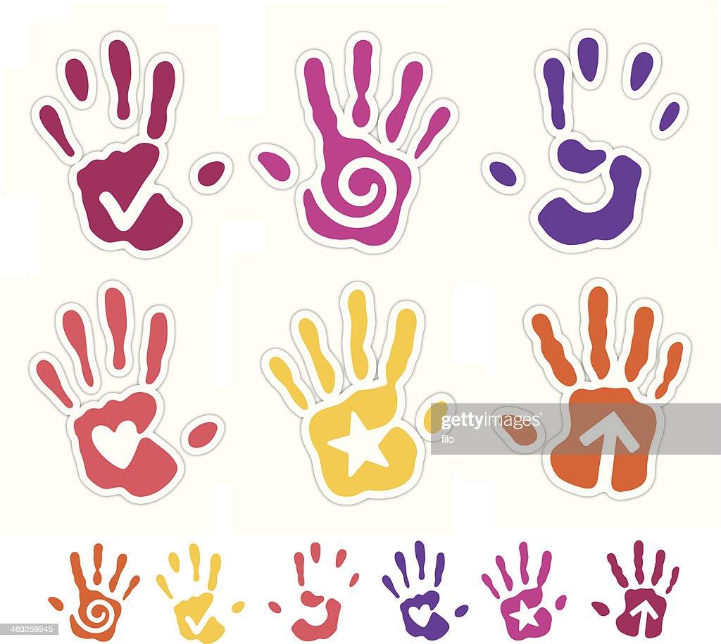 Hand print symbols