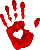 Hand print with heart icon