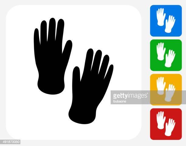 ilustrações, clipart, desenhos animados e ícones de mão imprime ícone plana de design gráfico - vestuário de proteção