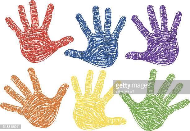 hand prints - human hand stock illustrations