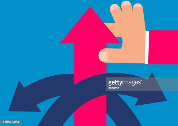 hand pulling red arrow up - appearance stock illustrations