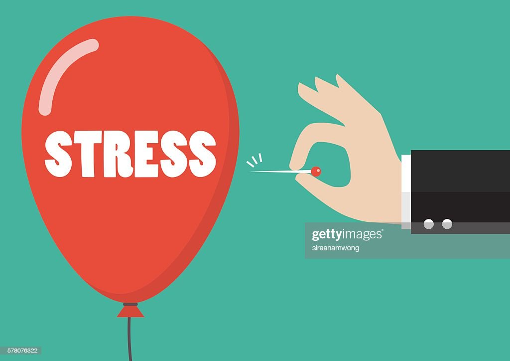 Hand pushing needle to pop the stress balloon