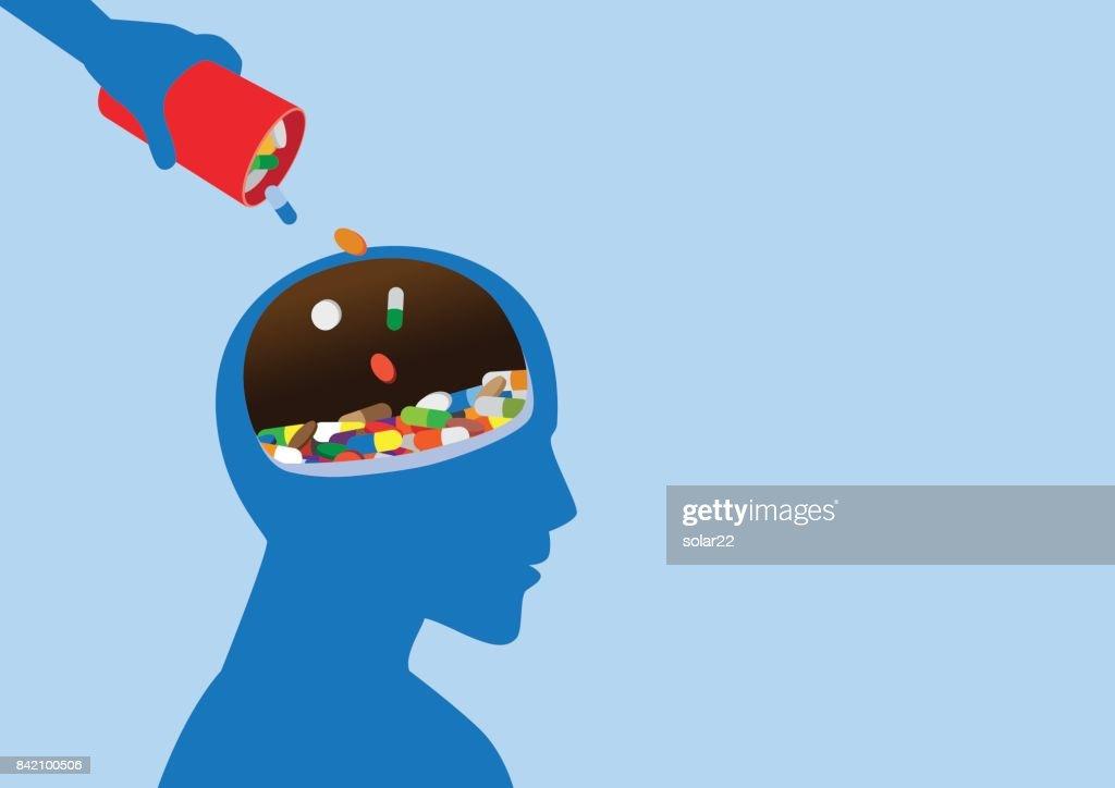 Hand put medicine into human head.