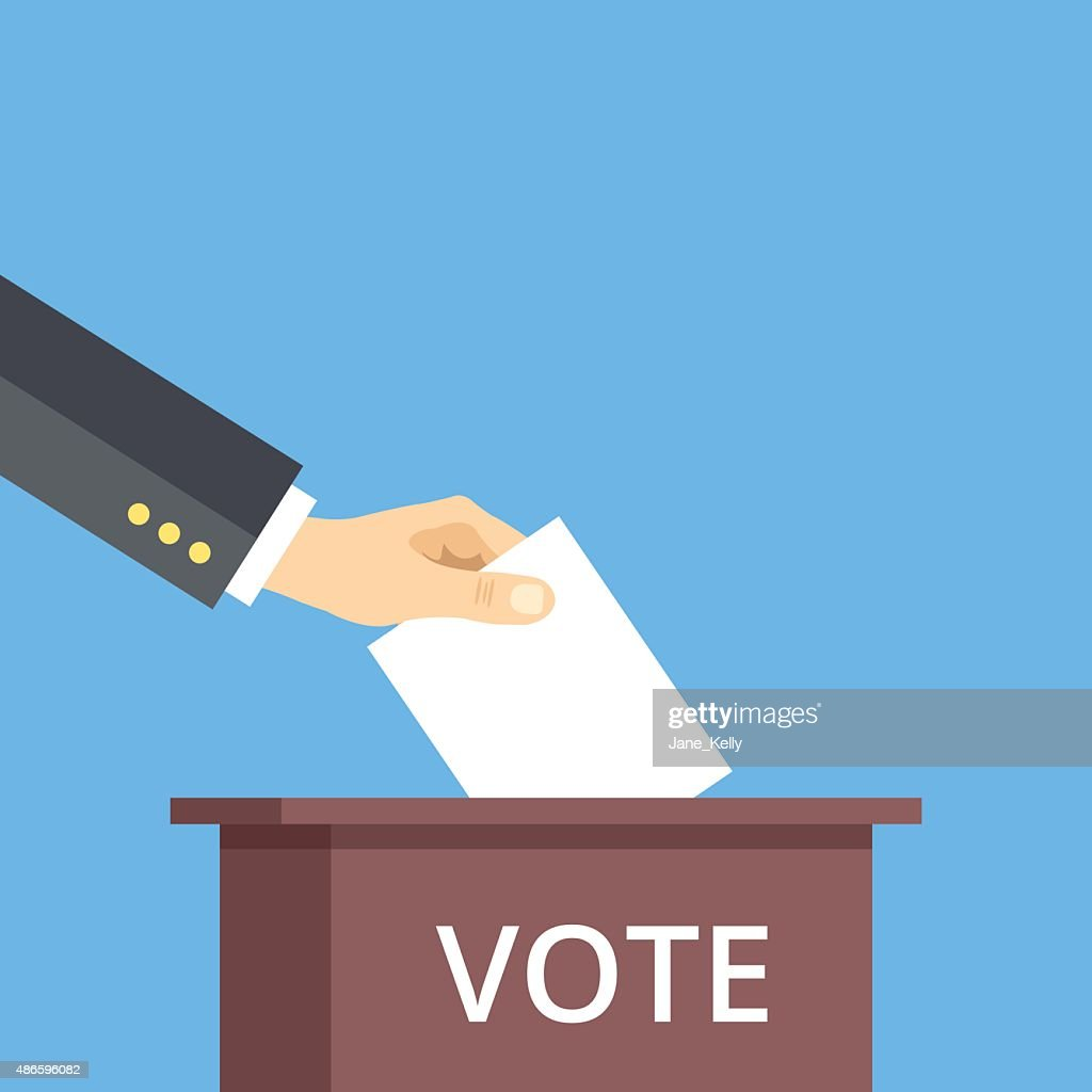 Hand put voting paper in ballot box. Voting flat concept