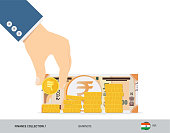 Hand putting coin to coins stack with 200 Indian Rupee Banknote. Flat style vector illustration. Growing graph. Finance concept.