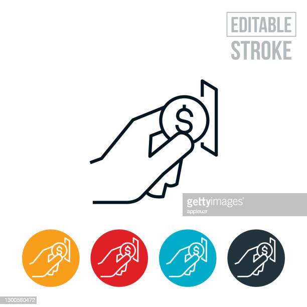 hand putting money in coin slot thin line icon - editable stroke - inserting stock illustrations