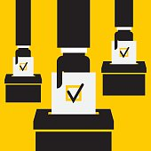 hand putting voting paper in the ballot box