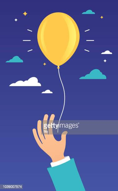 hand raised yellow balloon - releasing stock illustrations
