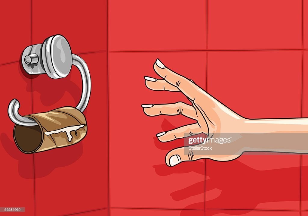 Hand reaching for empty toilet paper roll